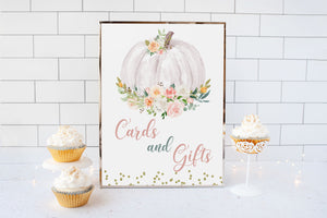 Pumpkin Cards and Gifts Sign Printable | Pumpkin theme Baby Shower Table Decoration - 30H