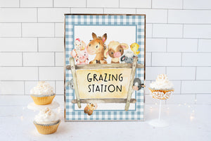 Farm Grazing Station Sign Printable | Farm Theme Baby Shower Table Decoration - 11C