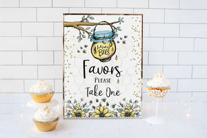 Bee Favors Please Take One Sign Printable | Bee theme Baby Shower Table Decoration - 61A