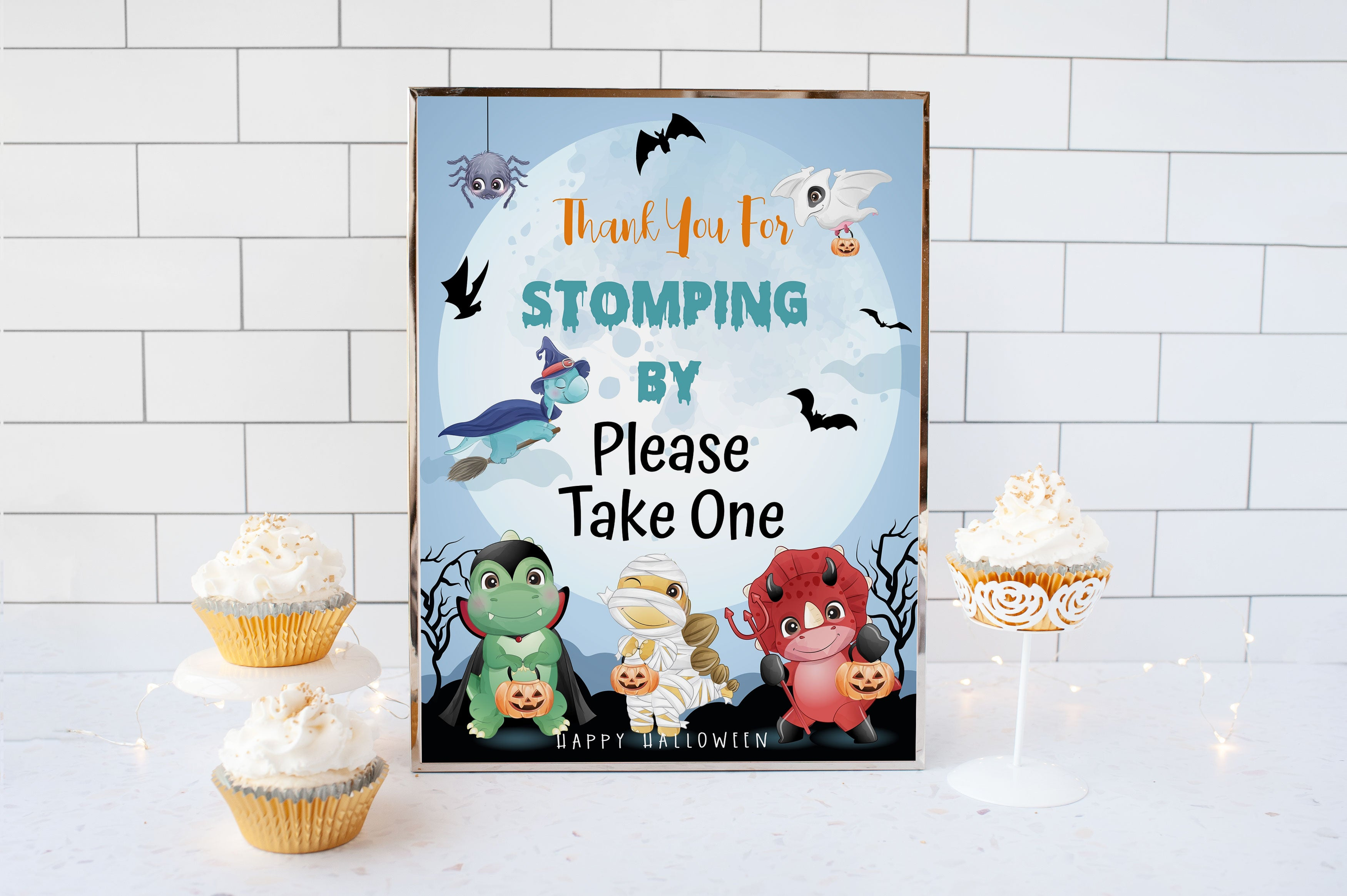Halloween Dino Treats Table Sign | Dinosaurs Theme Party - 115F