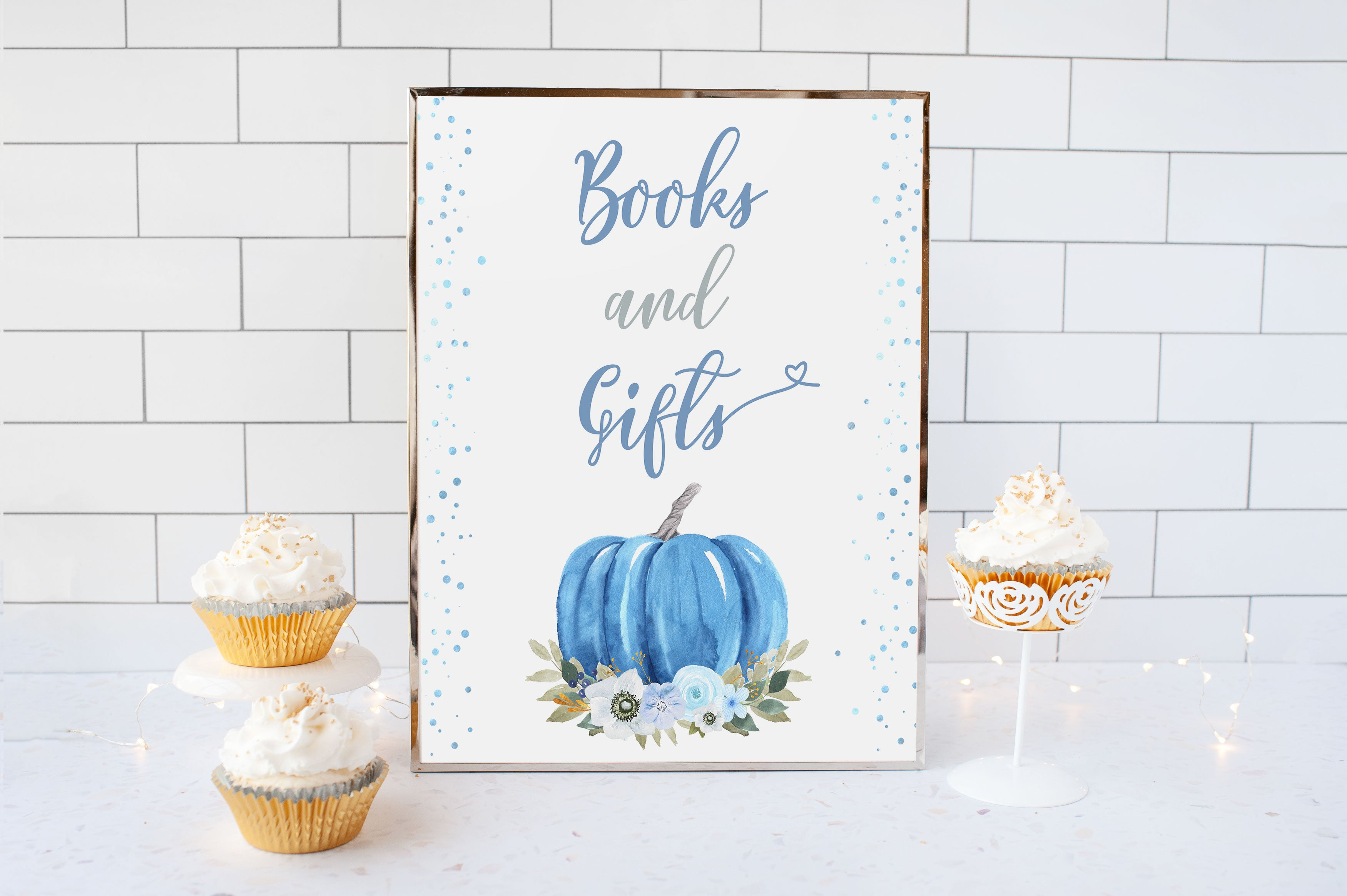 Blue Pumpkin Books and Gifts Sign Printable | Fall theme Baby Shower Table Decoration - 30B