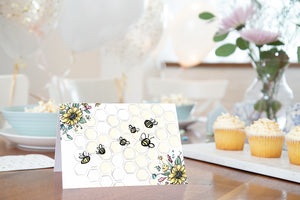 Editable Bee Place Cards | Honeycomb Theme Food Label Printable - 61A