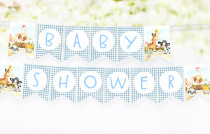 Farm Baby Shower Banner | Barnyard Baby Shower Printable Decorations - 15C