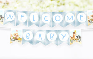 Farm Welcome Baby Banner | Barnyard Baby Shower Printable Decorations - 15C