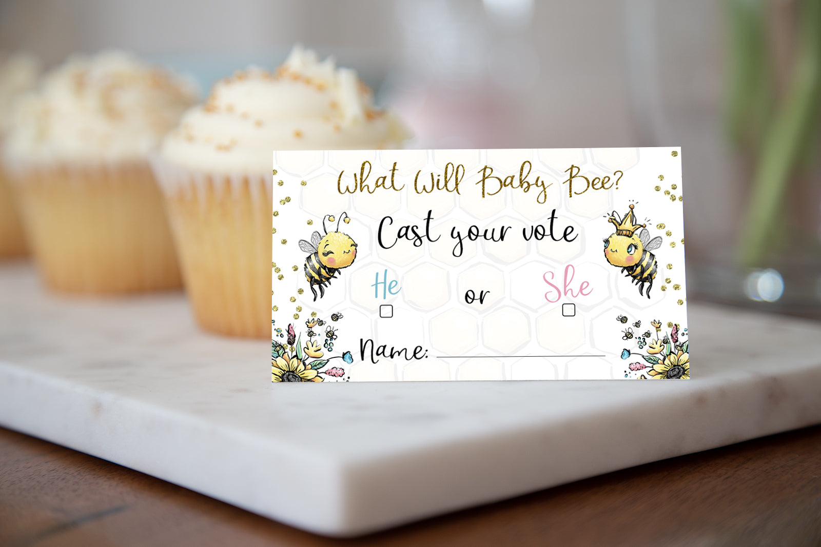 Honey Bee Cast Your Vote Cards Printable, Boy or Girl | Bee Gender Reveal Game - 61A