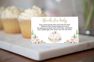 White Pumpkin Books For Baby Request Printable Card | Fall Baby Shower Invitation insert - 30H