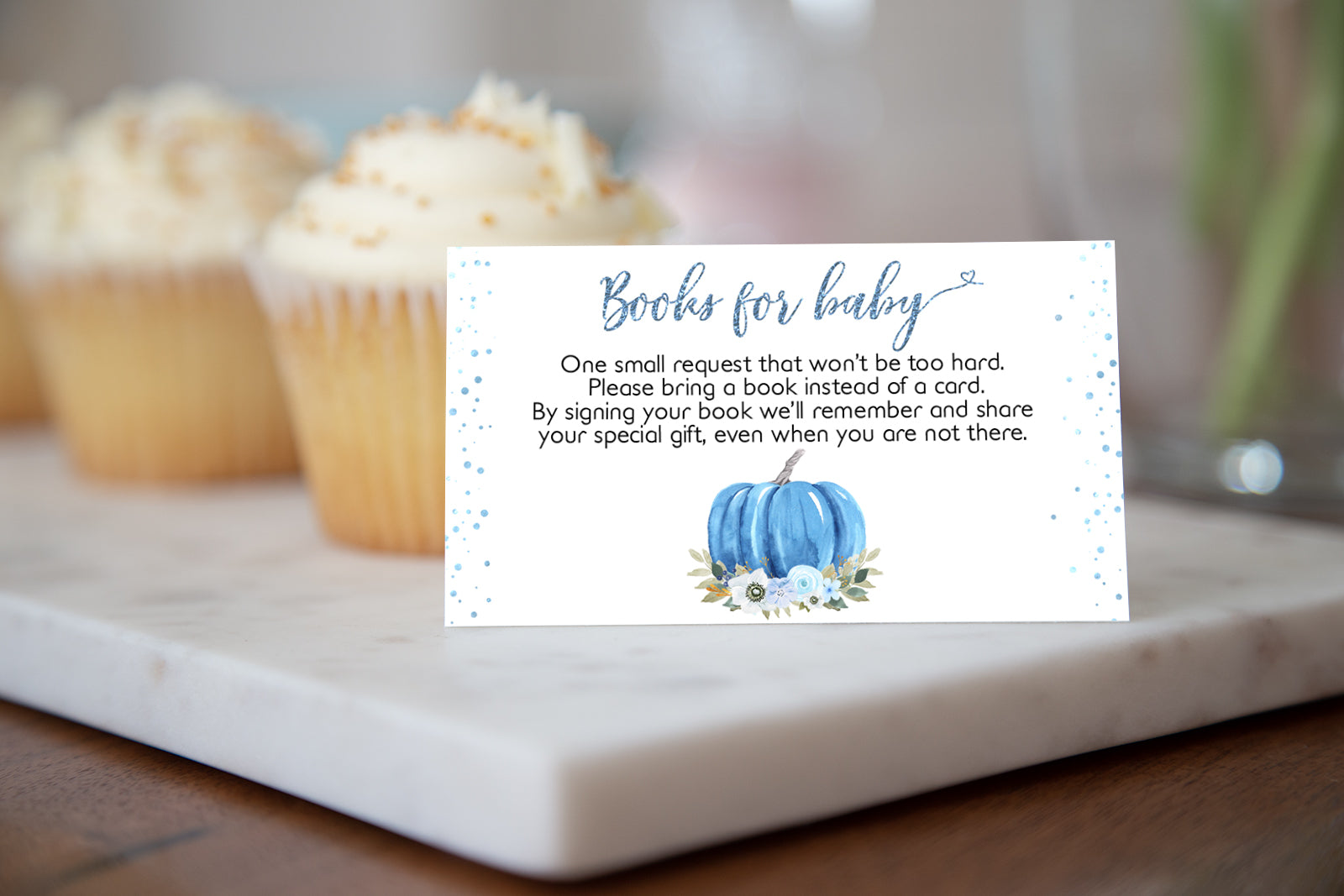 Pumpkin Books For Baby Request Printable Card | Fall Baby Shower Invitation insert - 30B