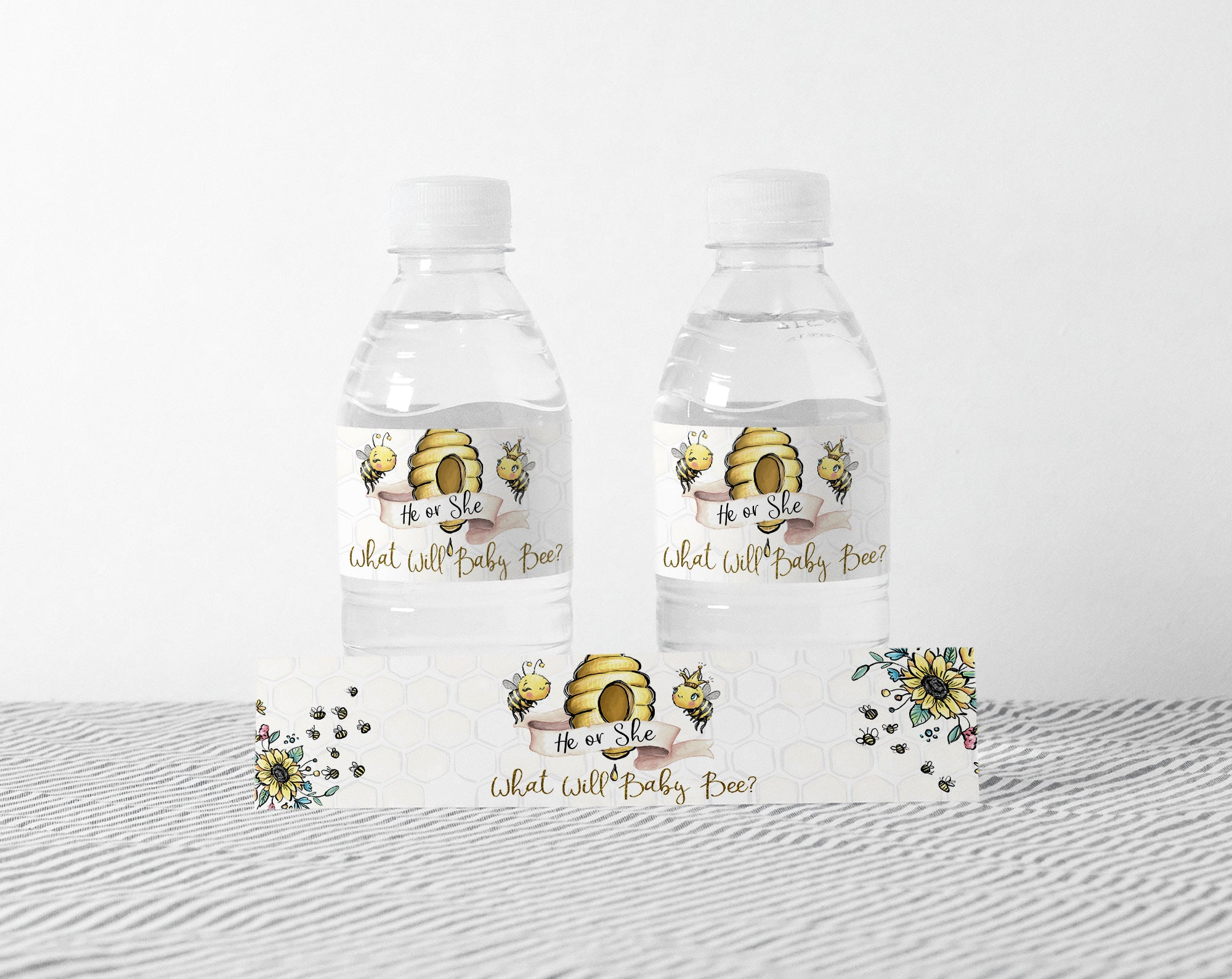 Bee Water Bottle Labels | What Will Baby Bee Gender Reveal Decorations - 61A