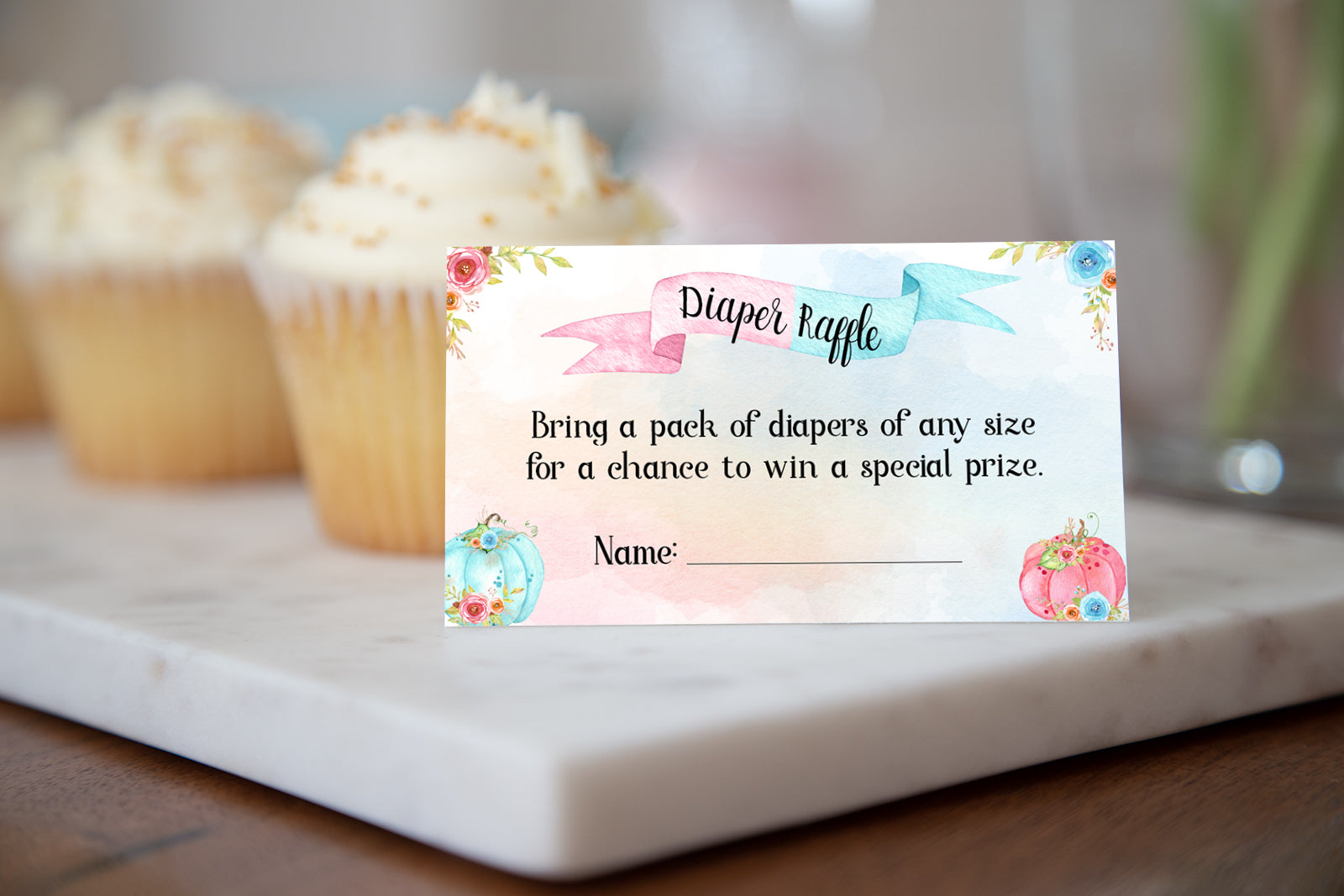 Pumpkin Diaper Raffle Sign and Ticket Card | Fall Baby Shower Game Printable - 30A