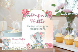 Girl Elephant Diaper Raffle Sign and Ticket Card | Elephant Baby Shower Game Printable - 63A