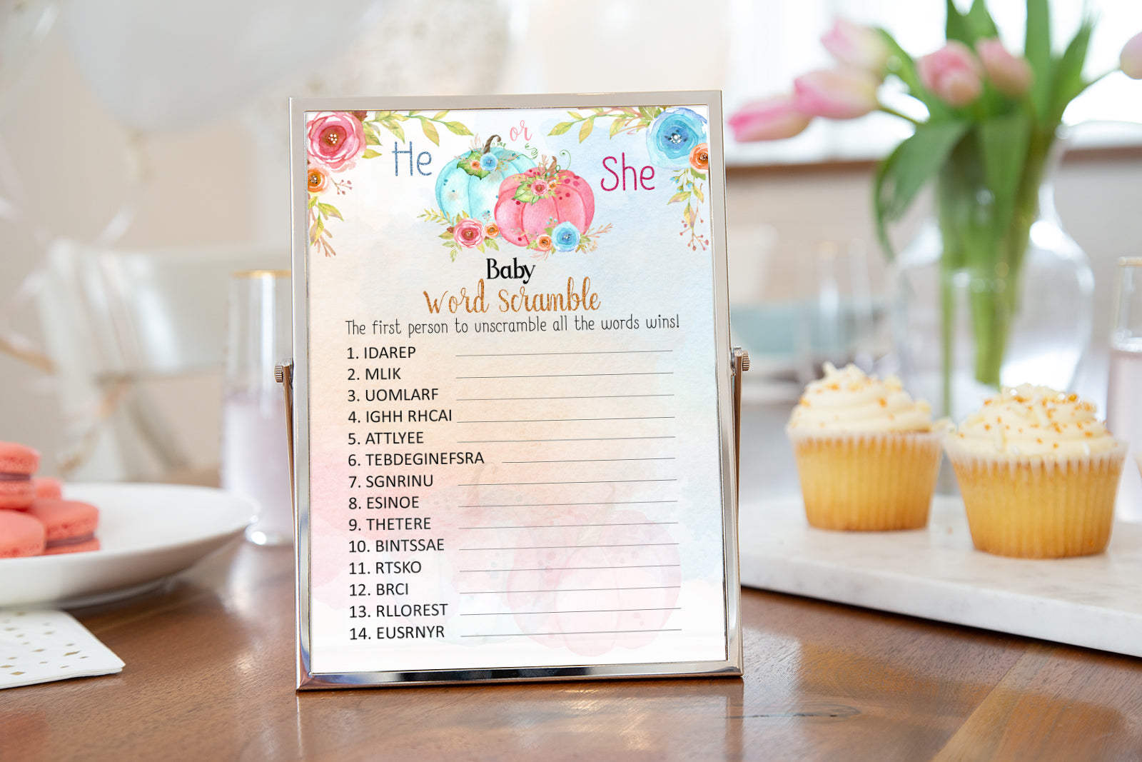 Pumpkin Gender Reveal Game | Fall Baby Word Scramble Printable - 30A