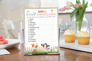 Farm Baby Shower Game | Barnyard Baby Word Scramble Printable - 11D