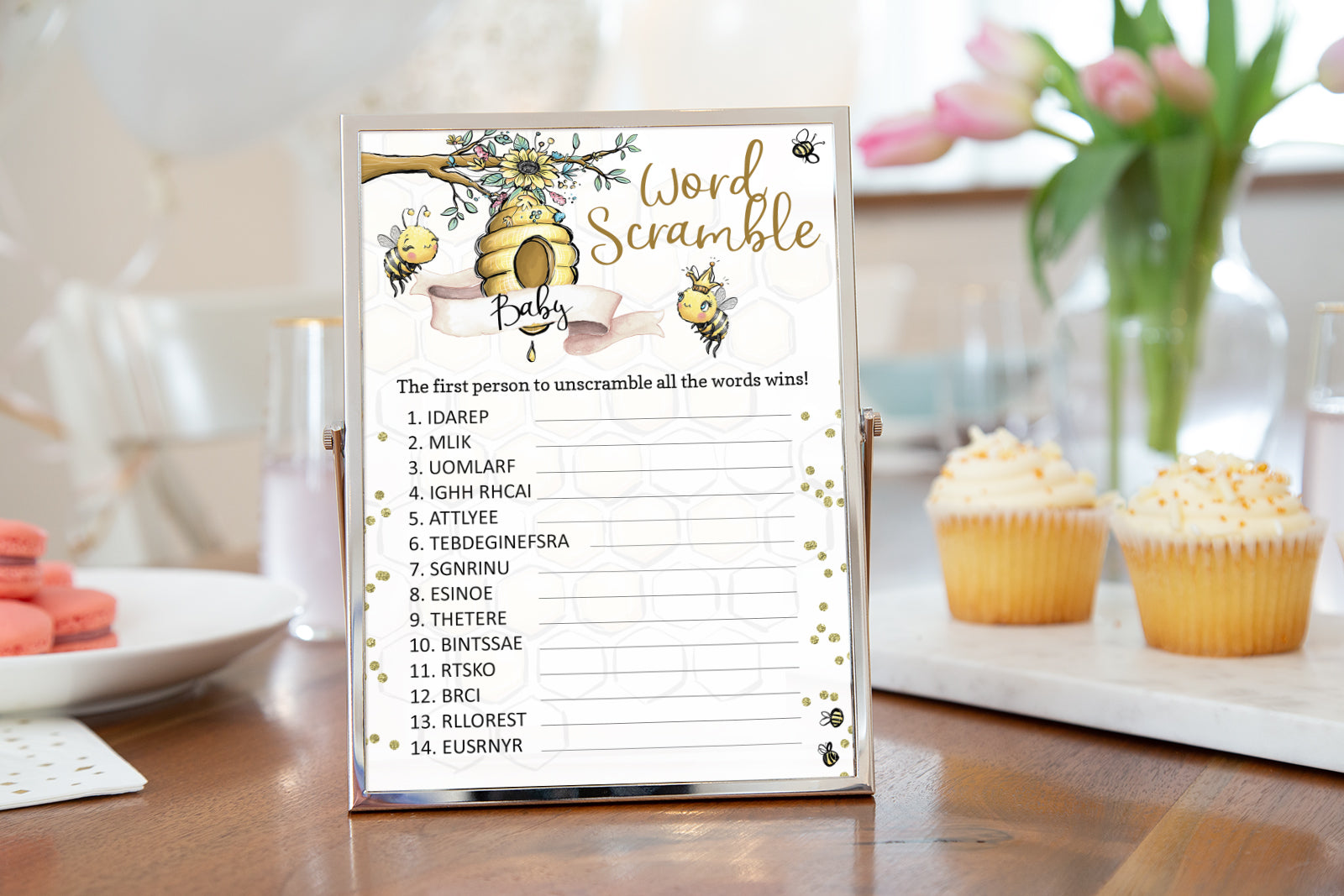 Bee Baby Word Scramble Printable | Bumble Bee Baby Shower Game - 61A