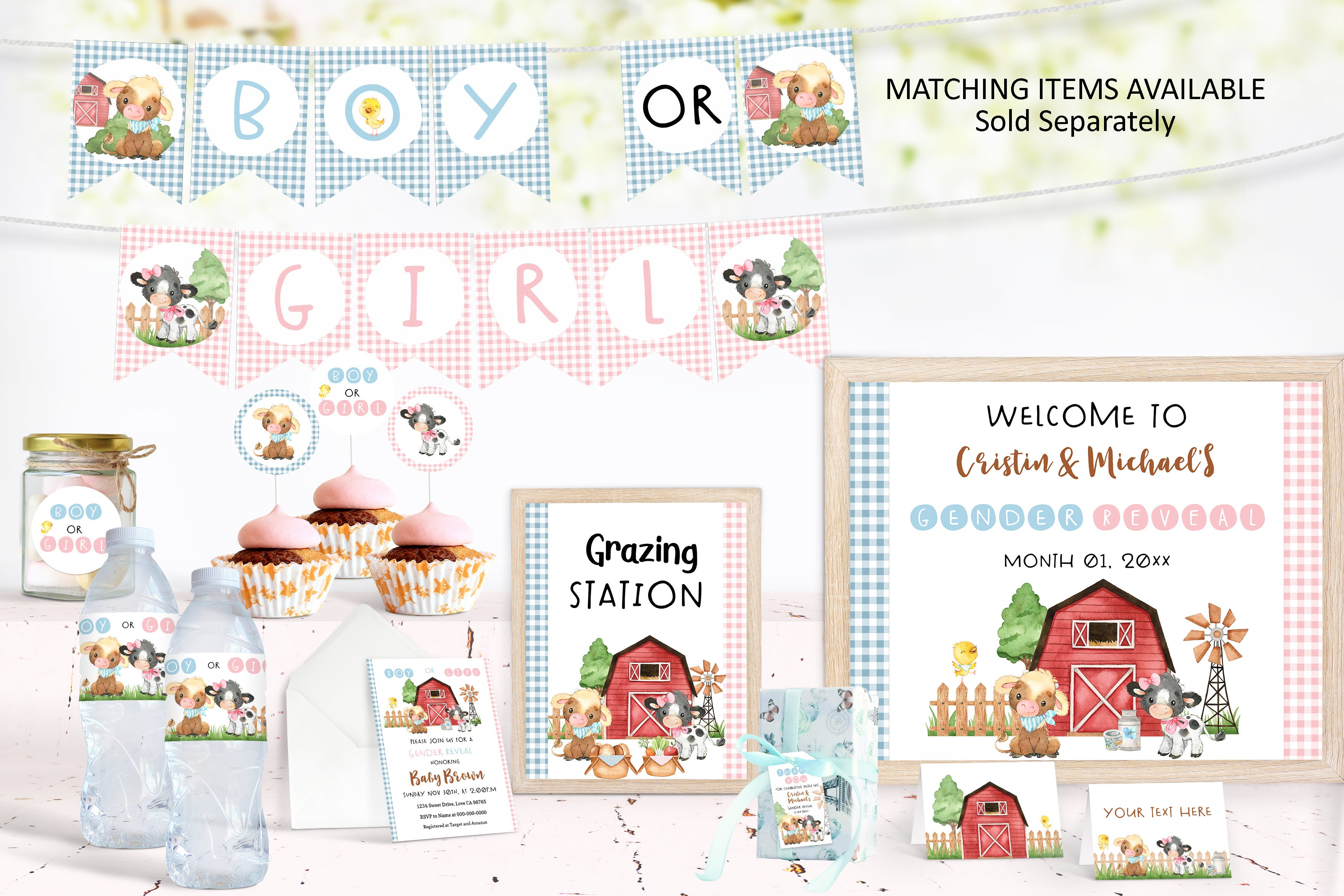 Farm Boy or Girl Banner | Cow Gender Reveal Printable Decorations - 11D