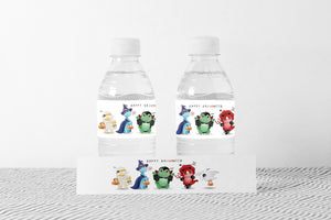 Halloween Water Bottle Labels | Dinosaur Party Decorations - 115F