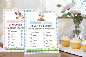 Farm Gender Reveal Game | Barnyard Team Boy Team Girl Scavenger Hunt Printable - 11D
