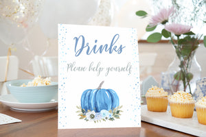 Blue Pumpkin Drinks Sign Printable | Fall theme Baby Shower Table Decoration - 30B