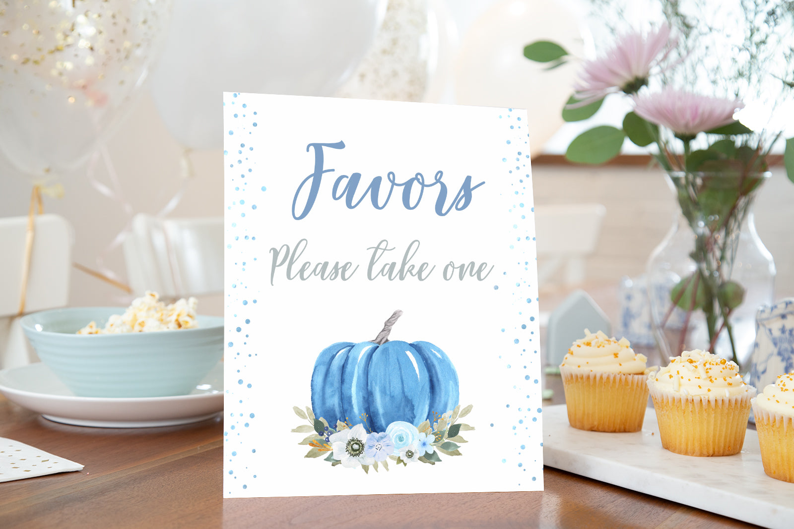 Blue Pumpkin Favors Sign Printable | Fall theme Baby Shower Table Decoration - 30B