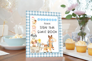 Farm Guest Book Sign Printable | Farm Theme Baby Shower Table Decoration - 11C