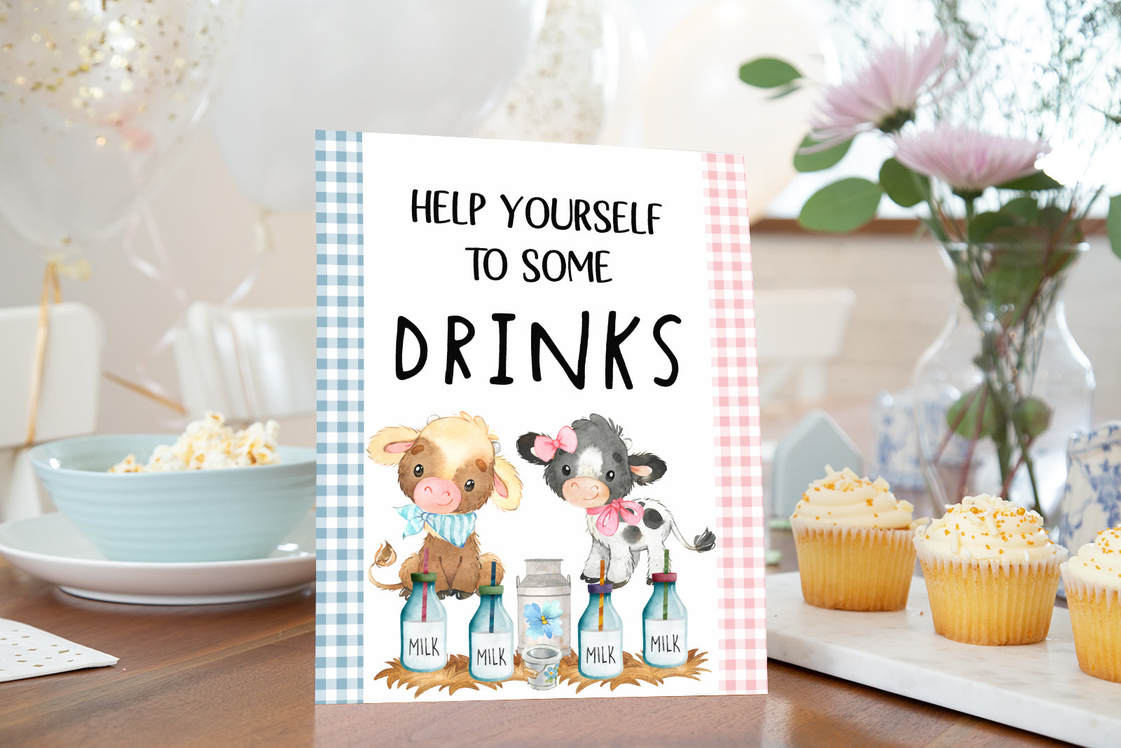 Farm Help Yourself to Some Drinks Sign Printable | Farm theme Baby Shower Table Decoration - 11D