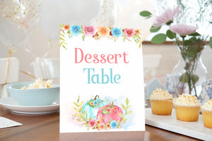 Pumpkin Dessert Table Sign Printable | Fall theme Gender Reveal Table Decoration - 30A