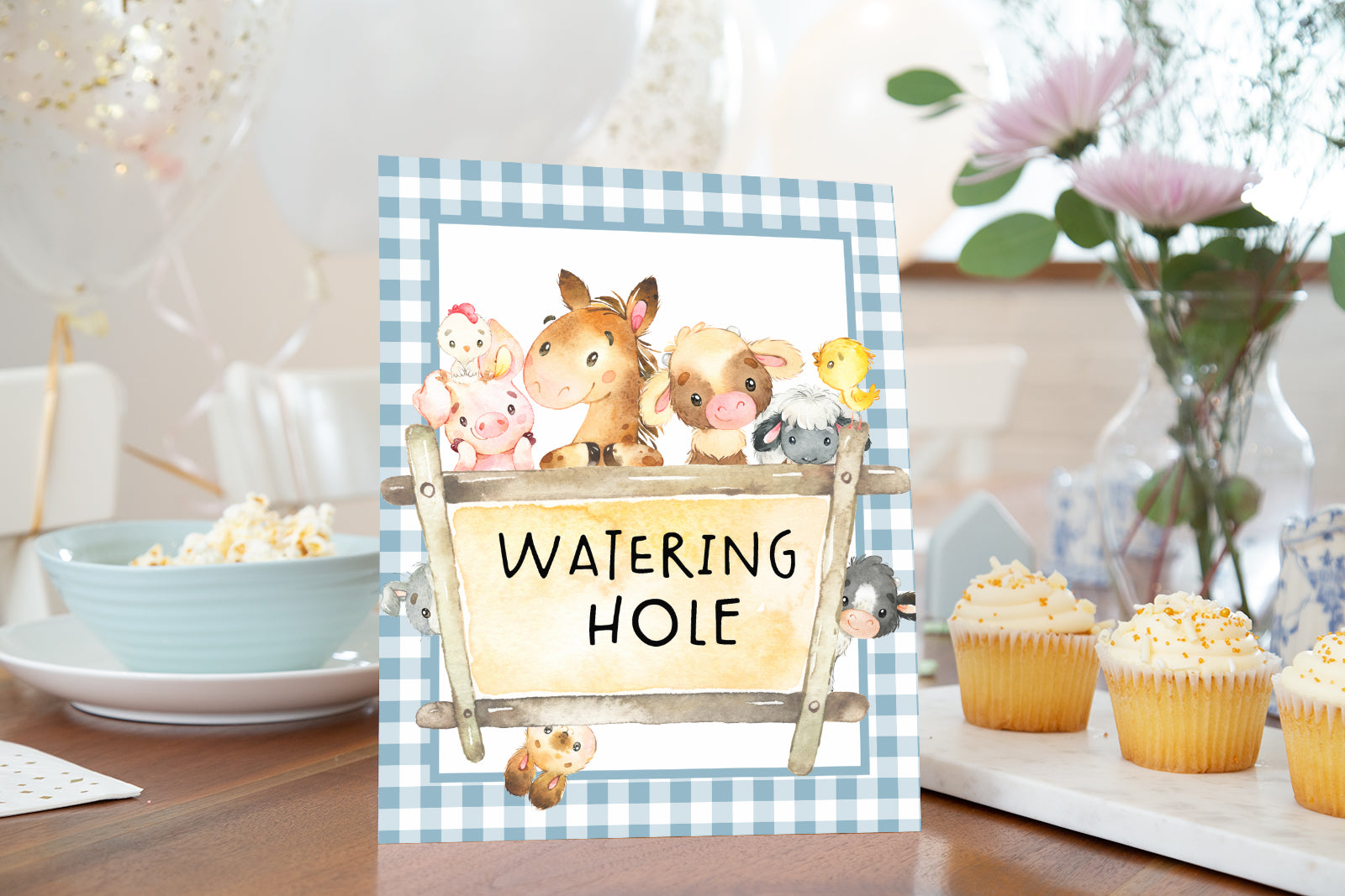 Farm Watering Hole Sign Printable | Farm Theme Baby Shower Table Decoration - 11C