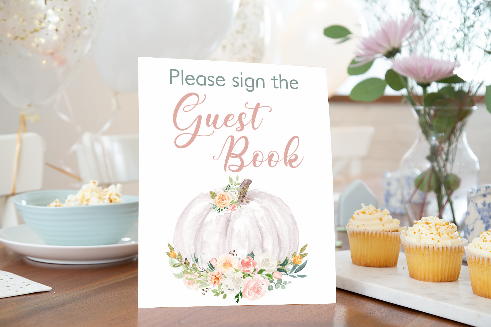 Pumpkin Guest Book Sign Printable | Pumpkin theme Baby Shower Table Decoration - 30H