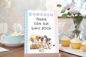 Farm Guest Book Sign Printable | Farm theme Baby Shower Table Decoration - 11D