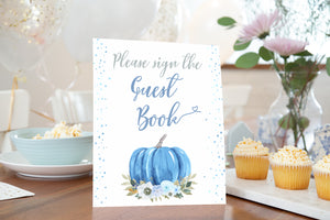 Blue Pumpkin Guest Book  Sign Printable | Fall theme Baby Shower Table Decoration - 30B