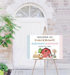 Editable Farm Gender Reveal Welcome Sign | Farm theme shower decorations - 11D