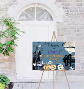 Editable Halloween Birthday Welcome Sign | Halloween theme party decorations - 115B