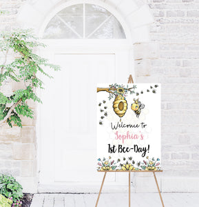 Editable Bee First Birthday Welcome Sign | Bumble Bee theme party decorations - 61A