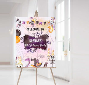 Editable Halloween Birthday Welcome Sign | Halloween theme party decorations - 115C