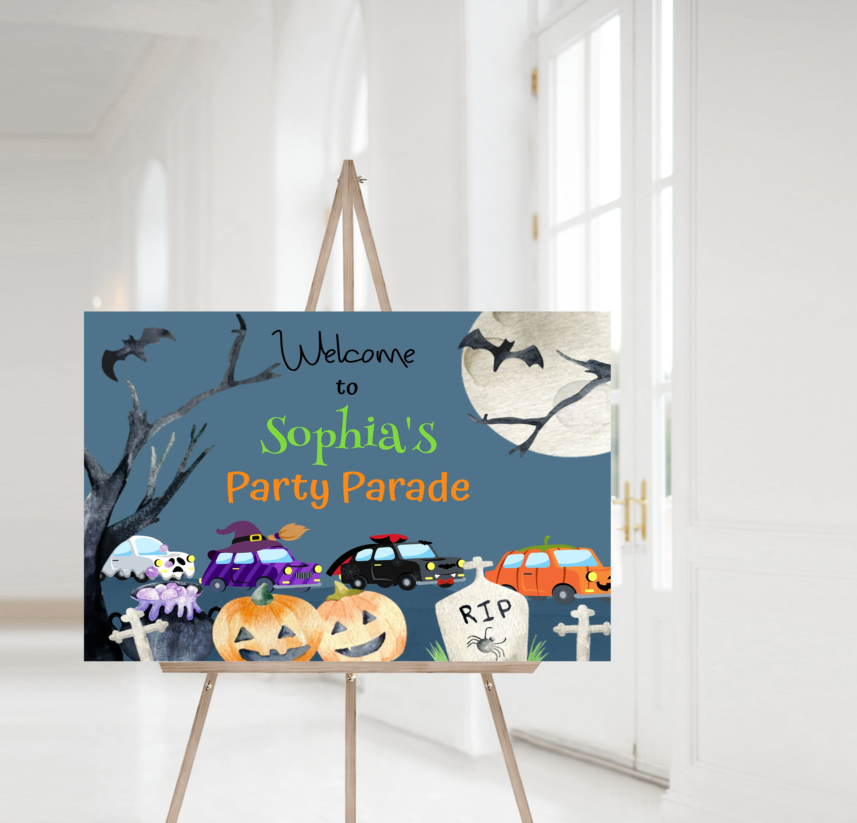 Editable Halloween Party Parade Welcome Sign | Halloween Theme Birthday Party - 115B