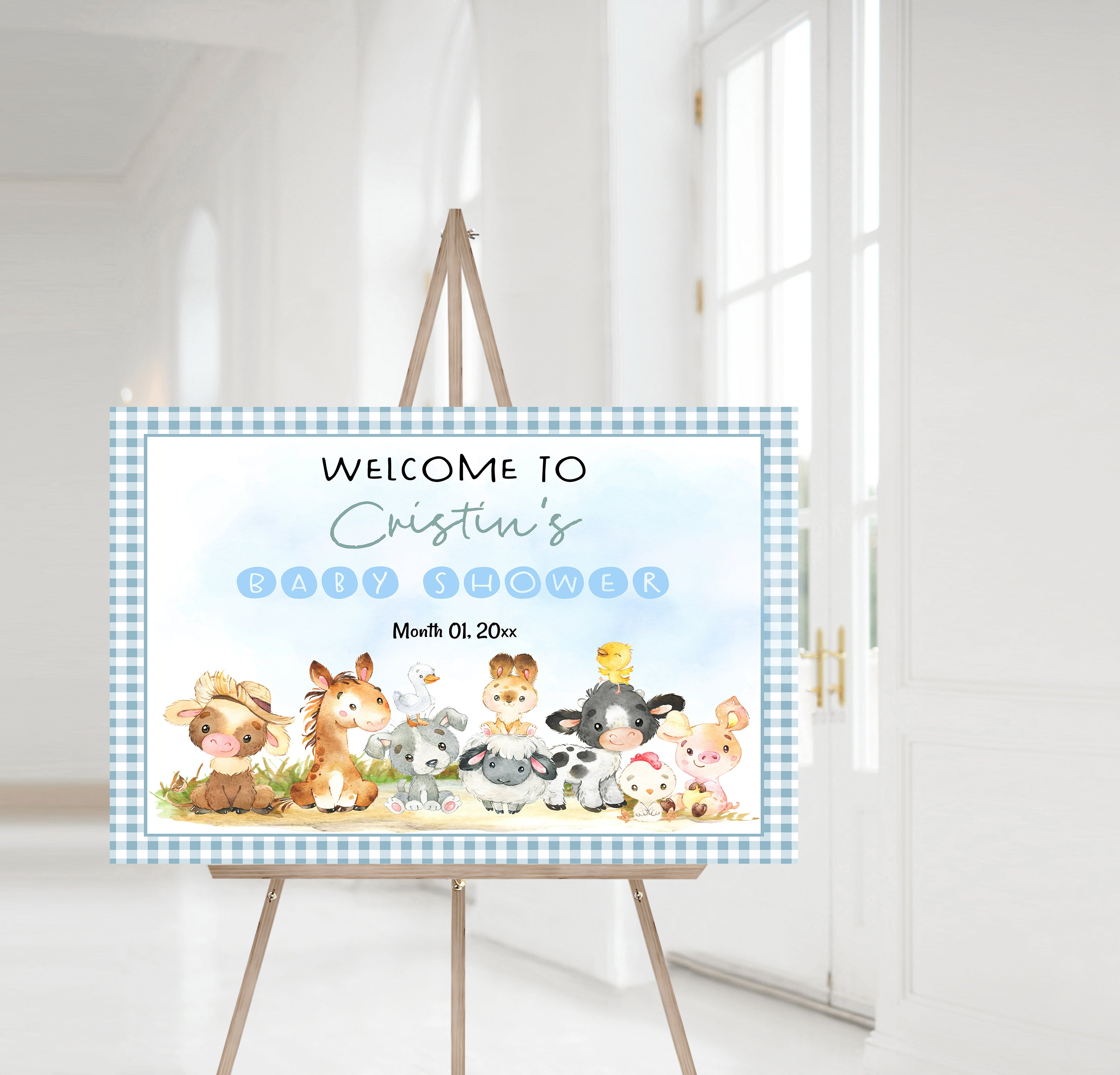 Editable Farm Baby Shower Welcome Sign | Farm theme shower decorations - 11C