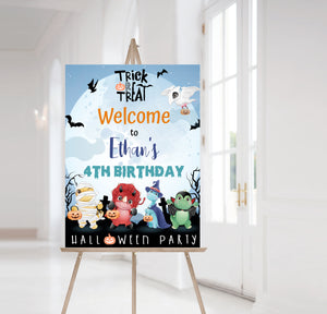 Editable Halloween Birthday Welcome Sign | Dinosaurs Theme Decorations - 115F