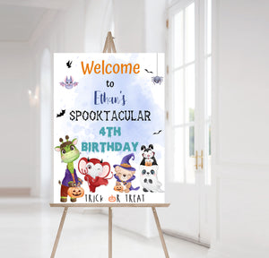 Halloween Birthday Welcome Sign | Woodland Theme Decorations - 115F