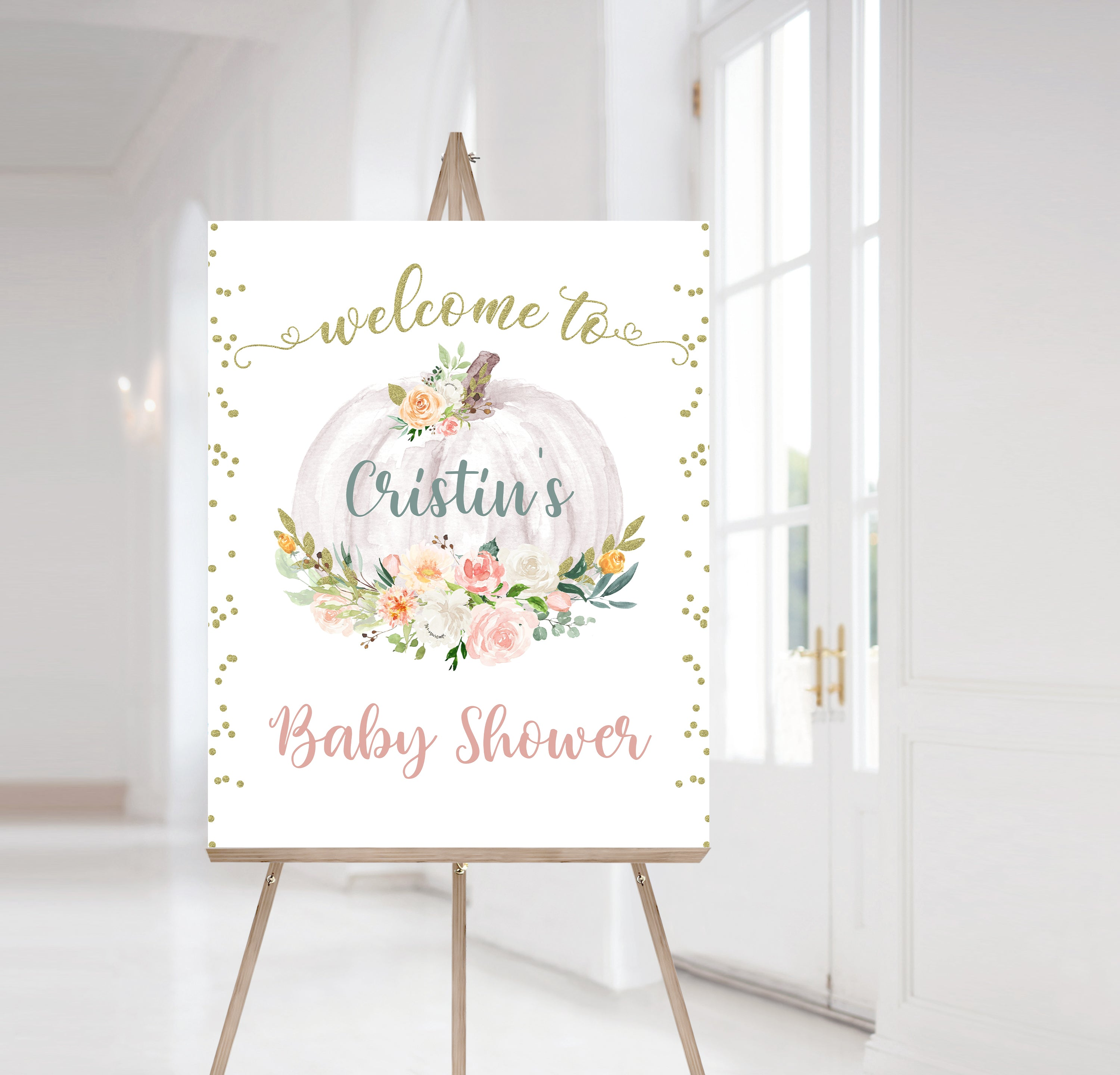 Editable Pumpkin Welcome Sign Baby Shower | Fall Theme Shower Decorations - 30H