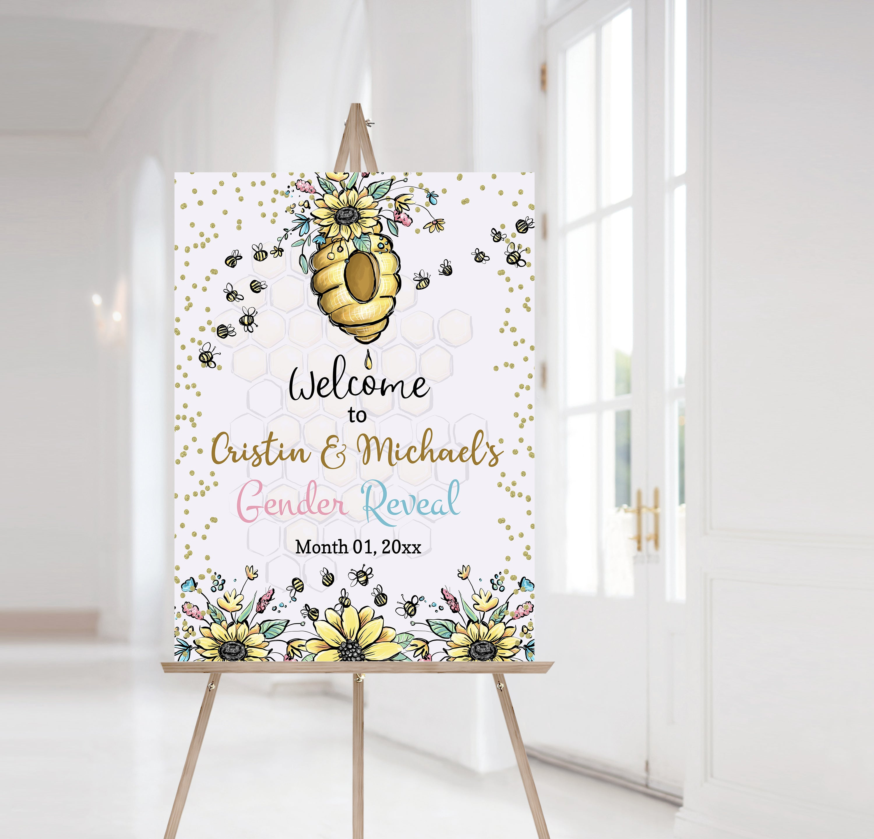 Editable Bee Baby Shower Welcome Sign | Honeycomb theme shower decorations - 61A