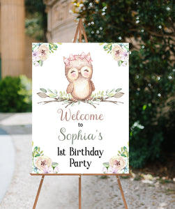 Editable Owl 1st Birthday Welcome Sign | Owl theme Party decorations - 78A