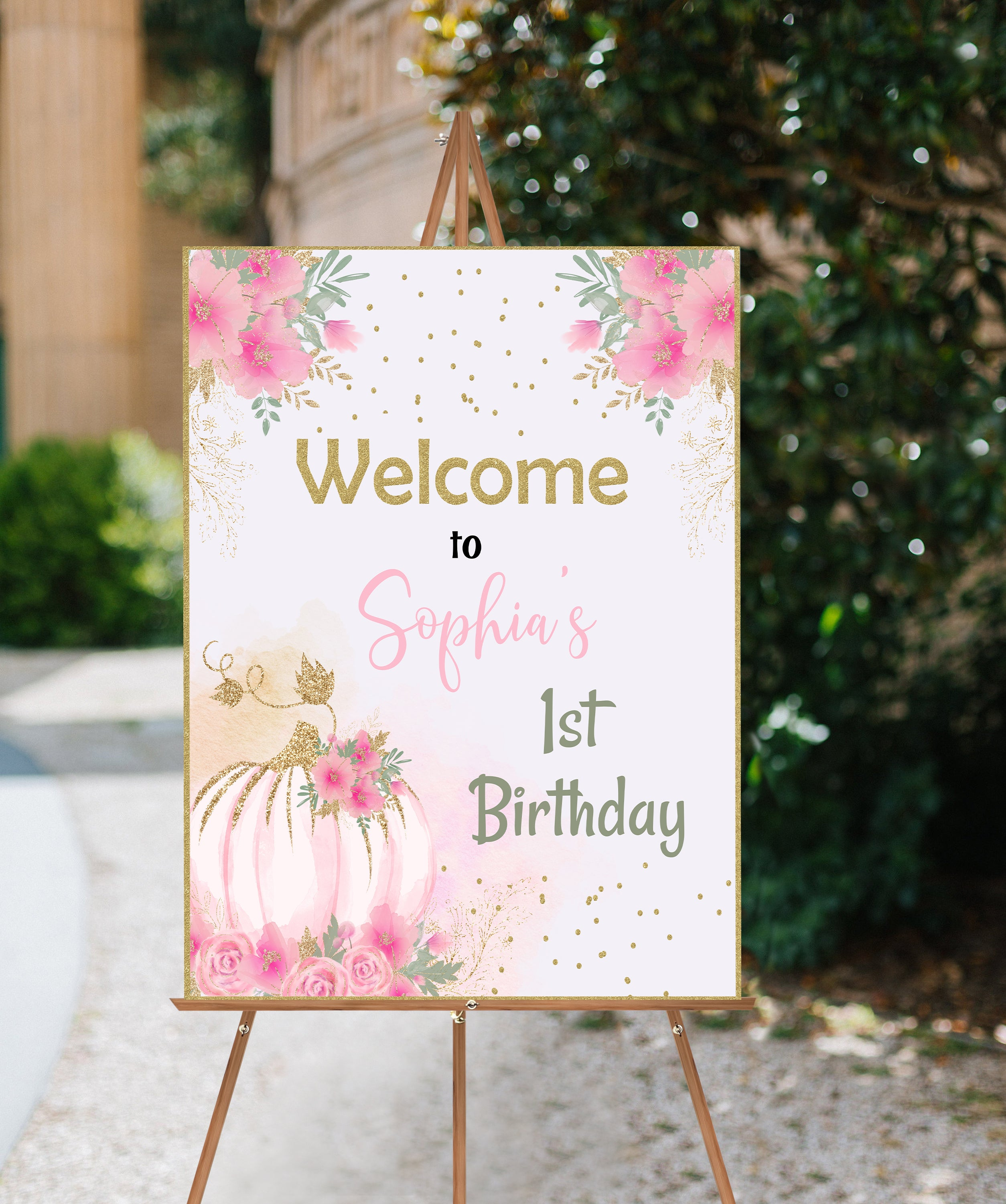 Editable Pumpkin Welcome Sign First Birthday | Fall Theme Birthday Decorations - 30C