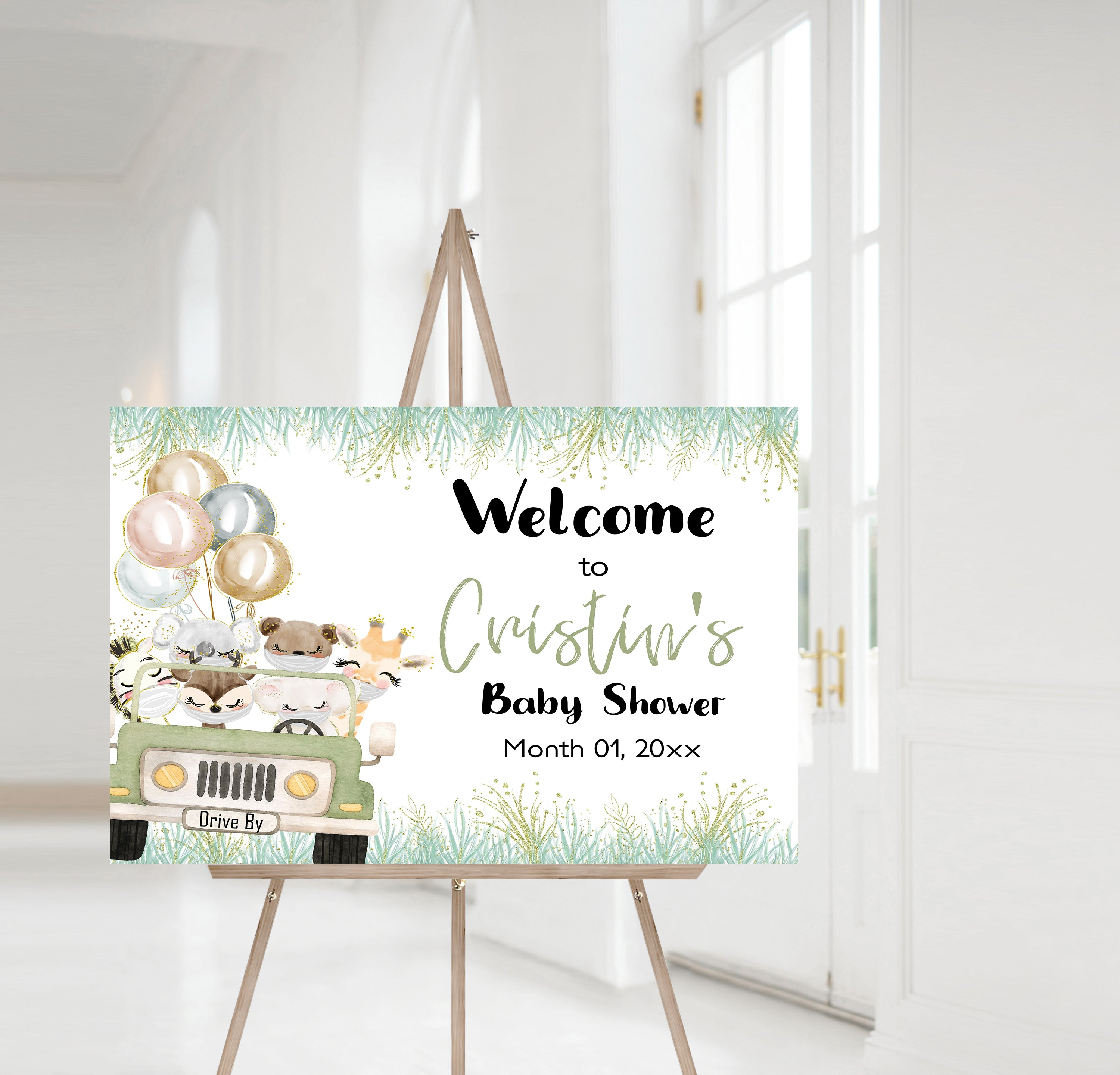 Editable Safari Jeep Baby Shower Welcome Sign | Jungle theme shower decorations - 35D