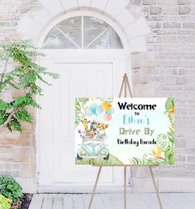 Safari Drive By Welcome Sign | Jungle theme Birthday decorations - 35A