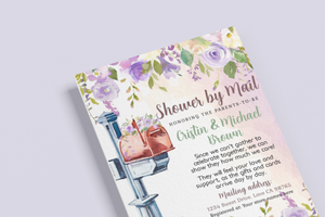 Purple Floral Editable Shower By Mail Invitation - 31
