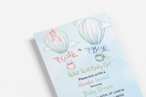 Hot Air Balloons Editable Invitation | Girl or Boy Gender Reveal Invitation - 54A