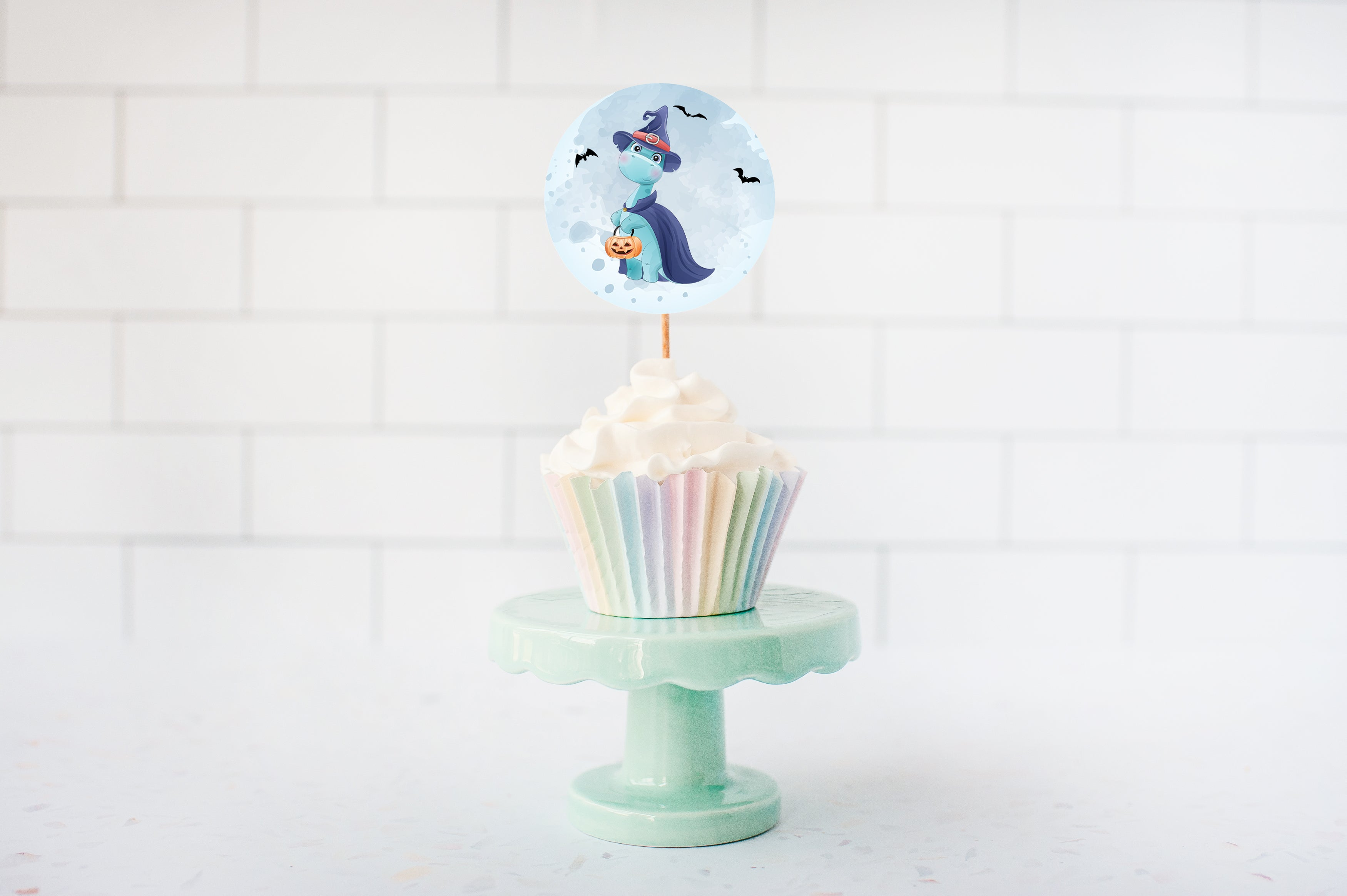 Halloween Birthday Cupcake Toppers | Dinosaur Theme Cupcake Picks - 115F