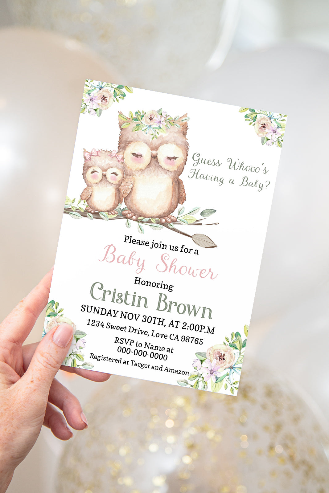 Guess Whoo's Having A Baby Invitation | Editable Owl Girl Baby Shower Invite - 78A2