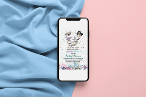 Mermaid or Pirate Editable Invitation | Blue or Pink  Gender Reveal Invitation 20A