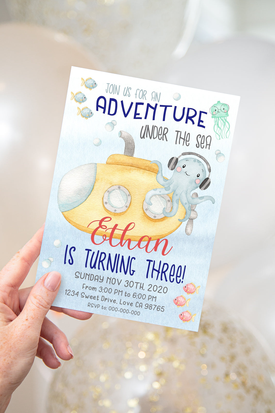 Submarine Editable Invitation | Under The Sea Theme Birthday Party Invite - 44Ab