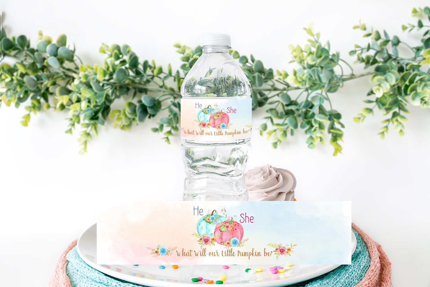 Pumpkin He or She Water Bottle Labels | Fall Gender Reveal Decorations - 30A